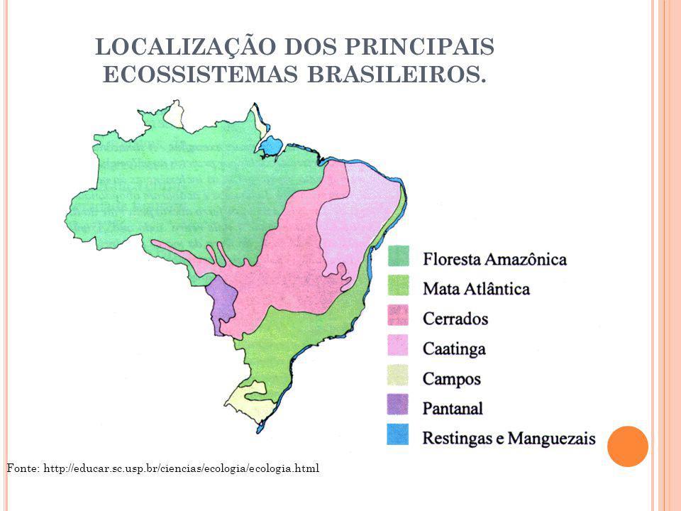 LOCALIZAÇÃO DOS PRINCIPAIS ECOSSISTEMAS BRASILEIROS.