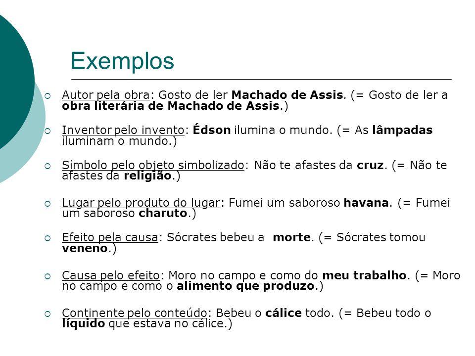 Exemplos Autor pela obra: Gosto de ler Machado de Assis. (= Gosto de ler a obra literária de Machado de Assis.)