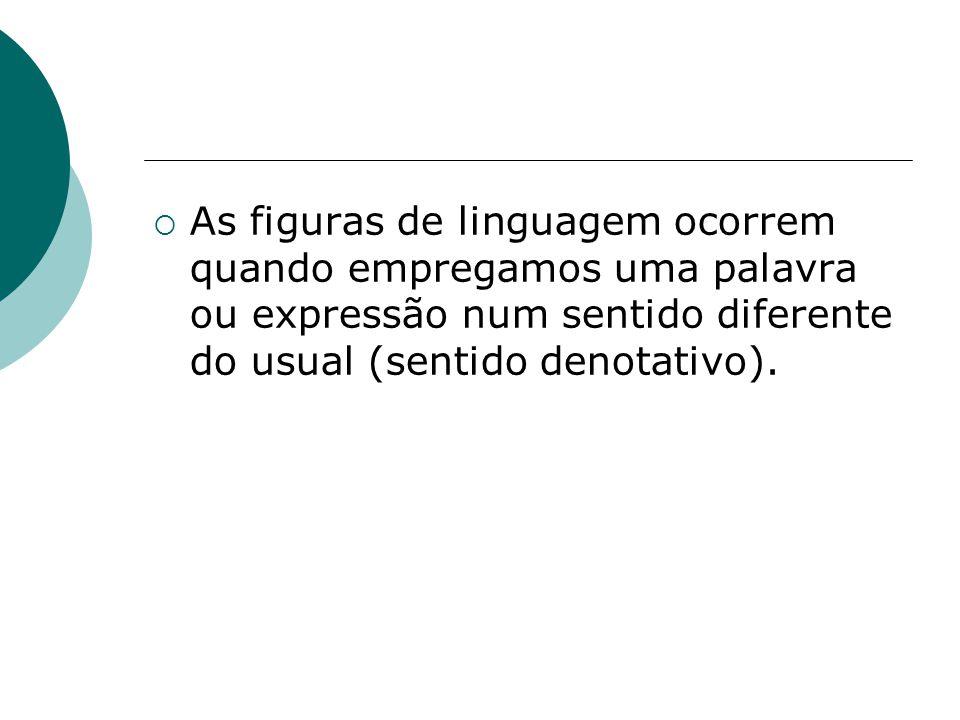 As figuras de linguagem ocorrem quando empregamos uma palavra ou expressão num sentido diferente do usual (sentido denotativo).