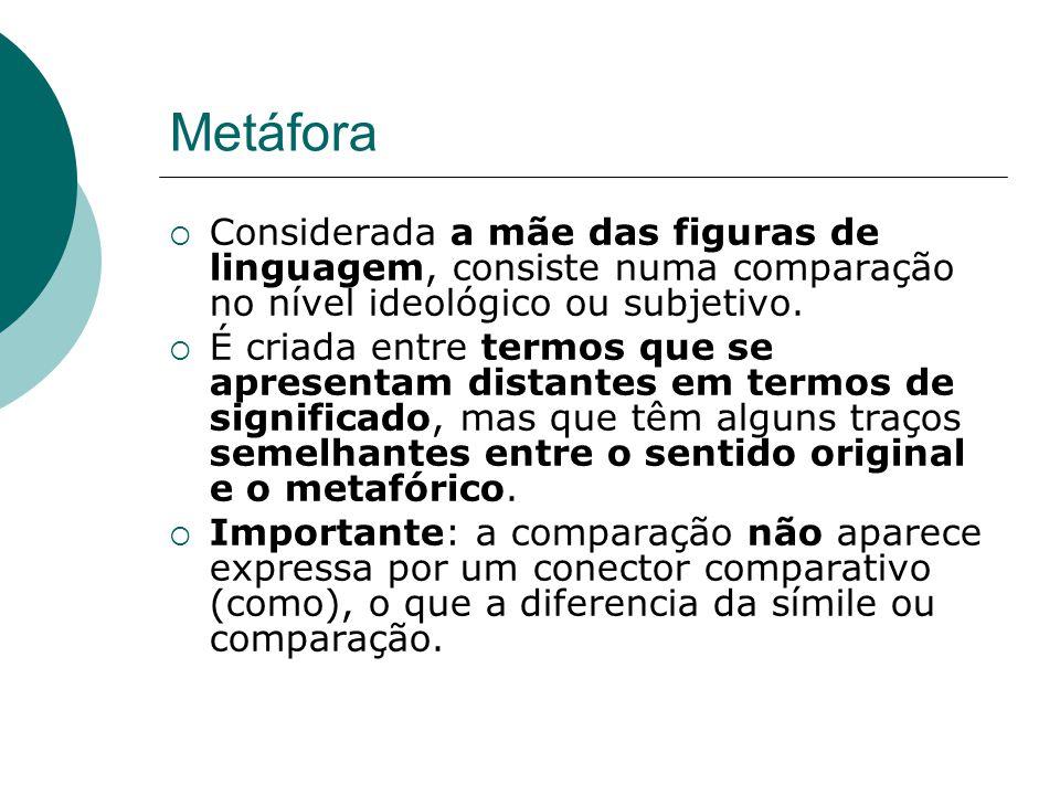 Metáfora Considerada a mãe das figuras de linguagem, consiste numa comparação no nível ideológico ou subjetivo.