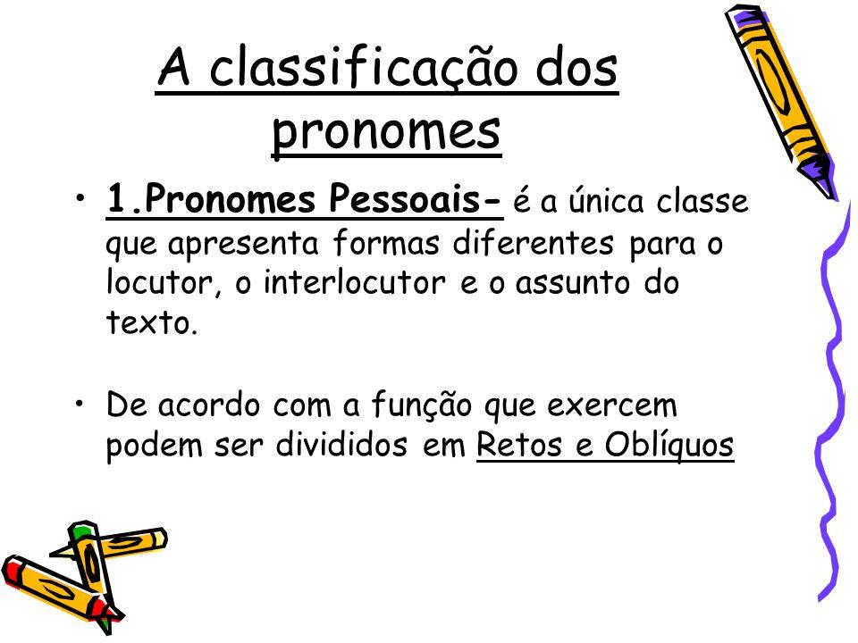 A classificação dos pronomes