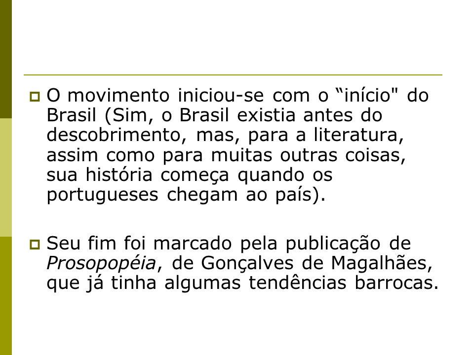 O movimento iniciou-se com o início do Brasil (Sim, o Brasil existia antes do descobrimento, mas, para a literatura, assim como para muitas outras coisas, sua história começa quando os portugueses chegam ao país).