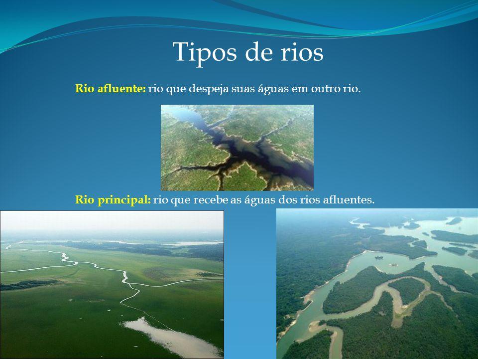 Tipos de rios Rio afluente: rio que despeja suas águas em outro rio.