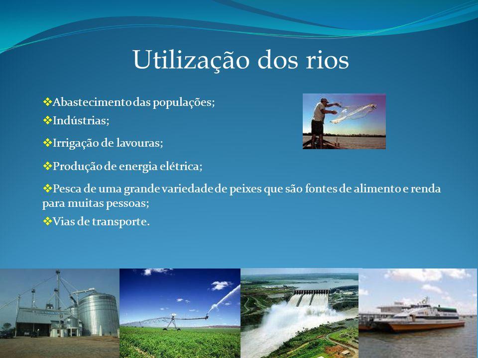 Utilização dos rios Abastecimento das populações; Indústrias;