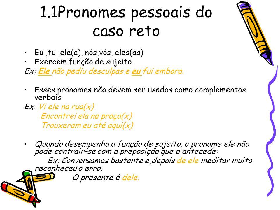 1.1Pronomes pessoais do caso reto