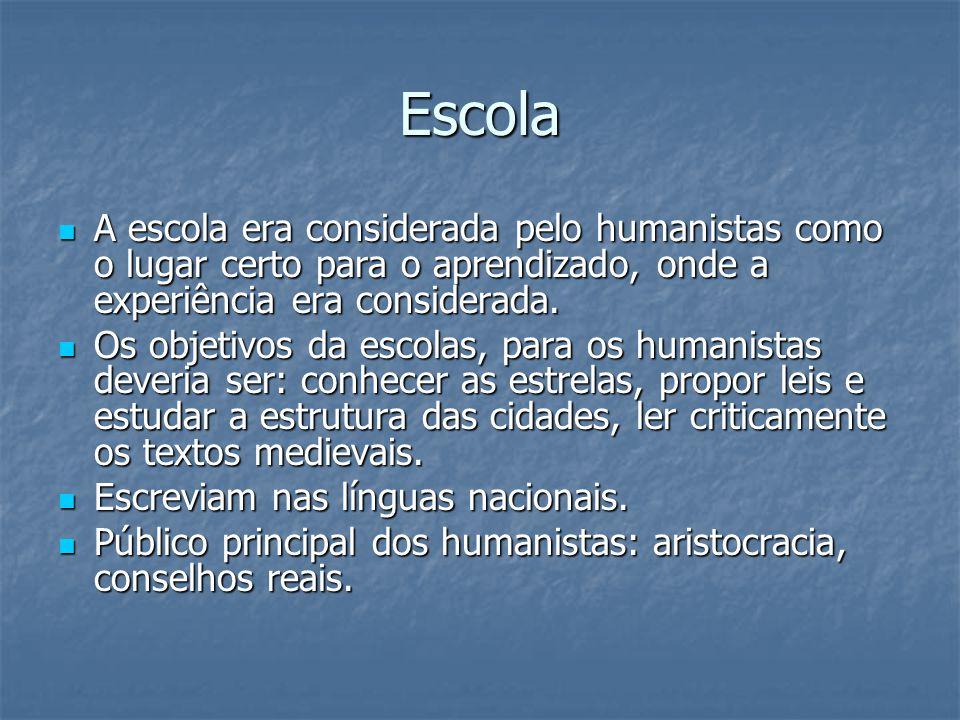 Escola A escola era considerada pelo humanistas como o lugar certo para o aprendizado, onde a experiência era considerada.