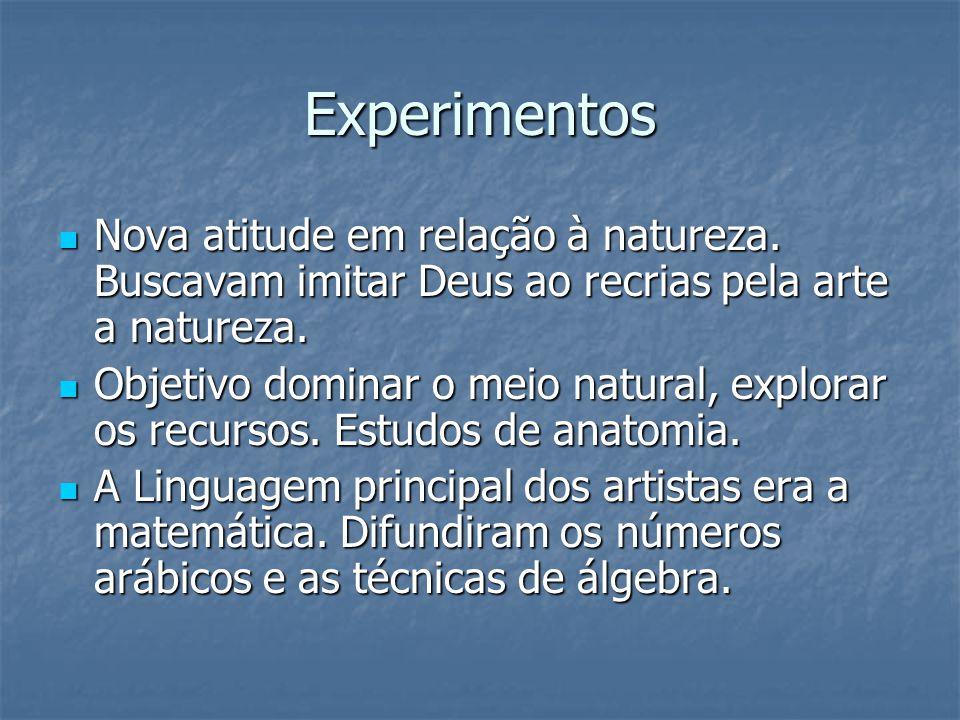 Experimentos Nova atitude em relação à natureza. Buscavam imitar Deus ao recrias pela arte a natureza.