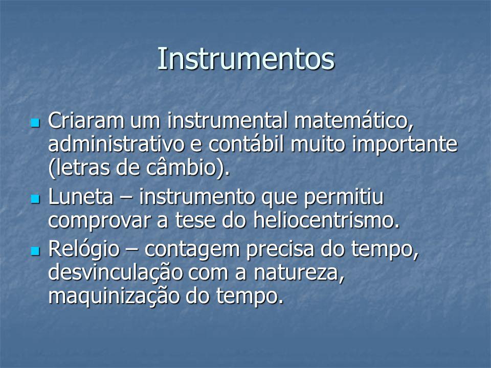 Instrumentos Criaram um instrumental matemático, administrativo e contábil muito importante (letras de câmbio).
