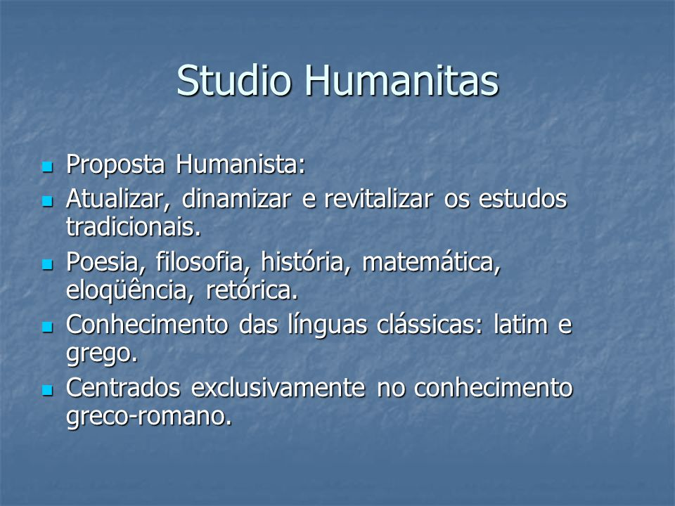 Studio Humanitas Proposta Humanista: