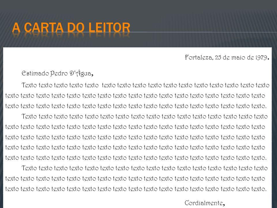 A carta do leitor Fortaleza, 25 de maio de 1979.