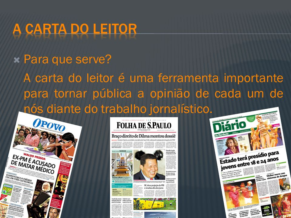A carta do leitor Para que serve