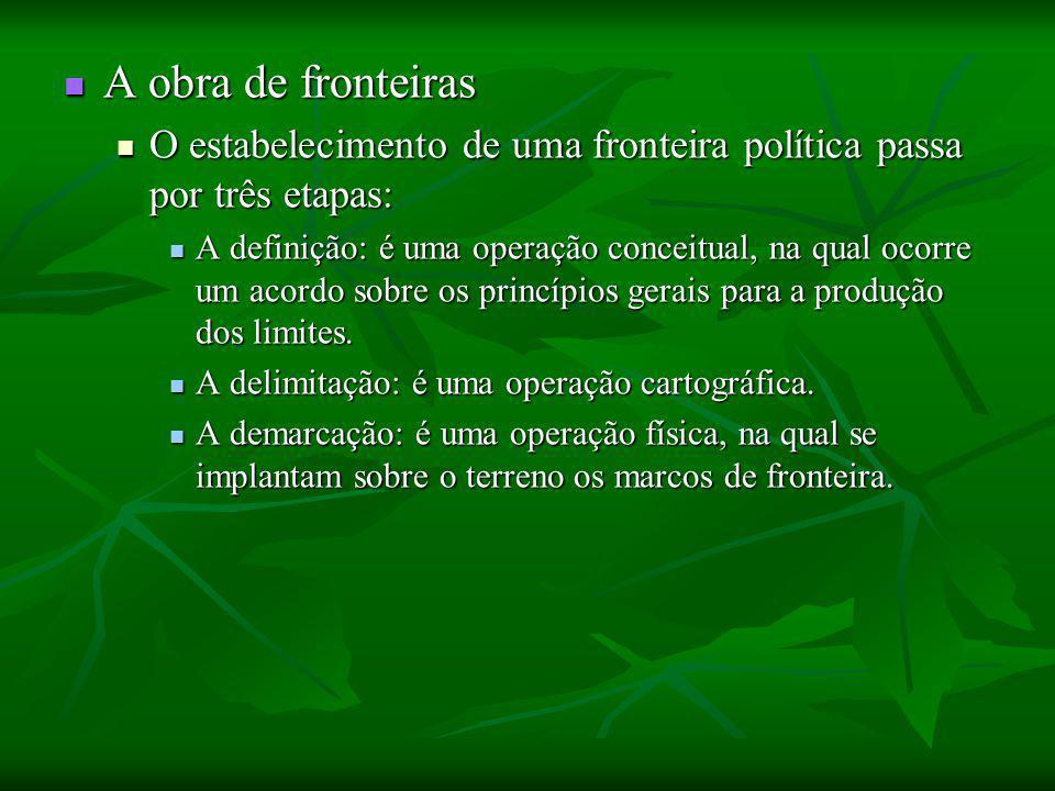 A obra de fronteiras O estabelecimento de uma fronteira política passa por três etapas: