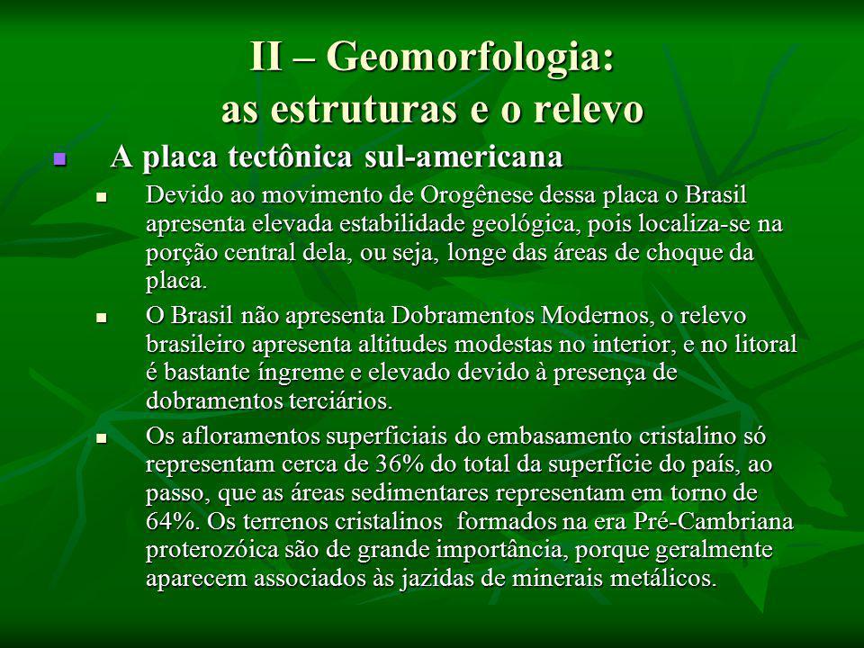 II – Geomorfologia: as estruturas e o relevo
