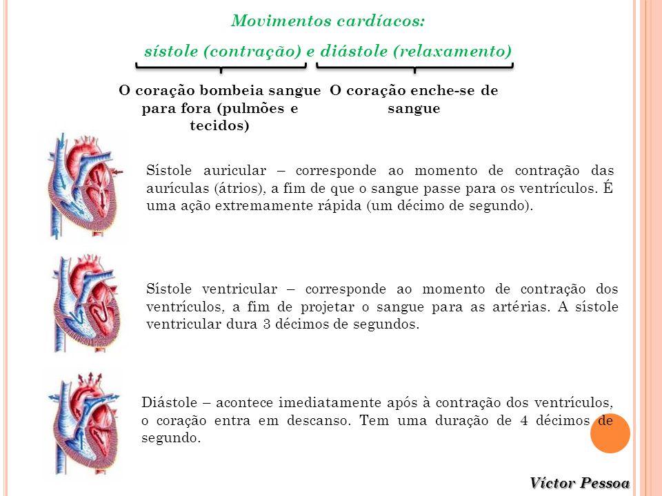 Movimentos cardíacos: sístole (contração) e diástole (relaxamento)
