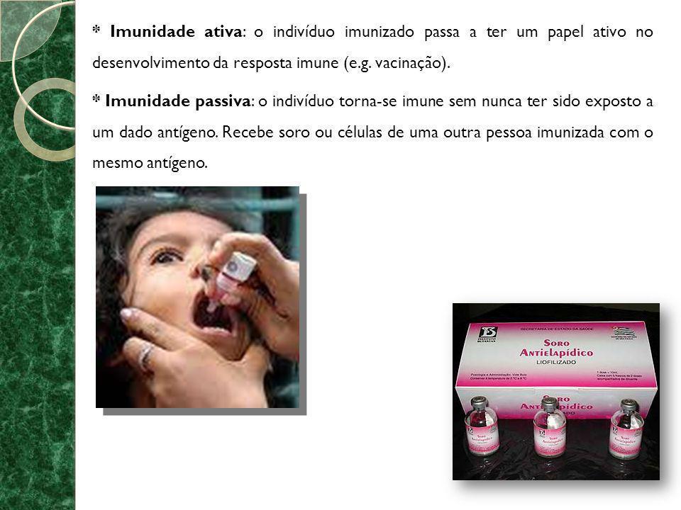 * Imunidade ativa: o indivíduo imunizado passa a ter um papel ativo no desenvolvimento da resposta imune (e.g. vacinação).