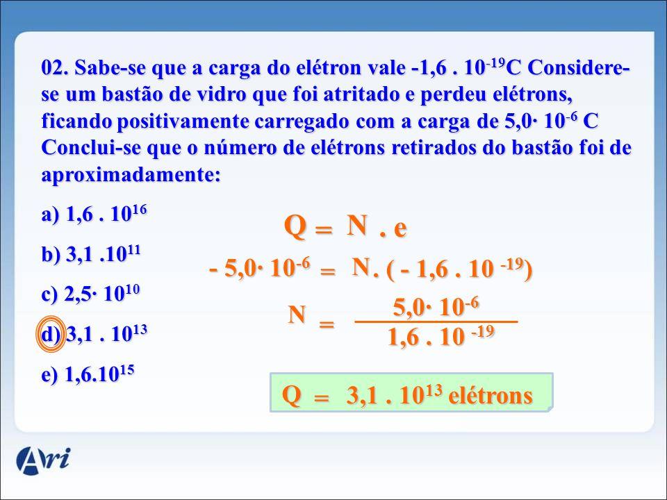 02. Sabe-se que a carga do elétron vale -1,6