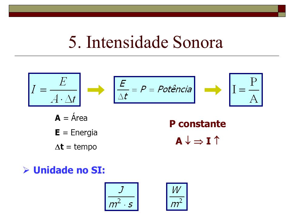 5. Intensidade Sonora P constante A   I  Unidade no SI: A = Área