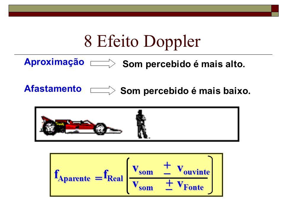 8 Efeito Doppler + vsom _ vouvinte fAparente fReal = vsom + _ vFonte