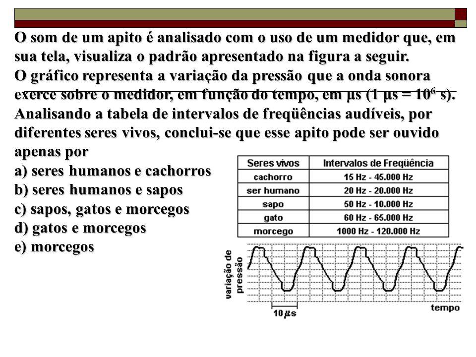 O som de um apito é analisado com o uso de um medidor que, em sua tela, visualiza o padrão apresentado na figura a seguir.
