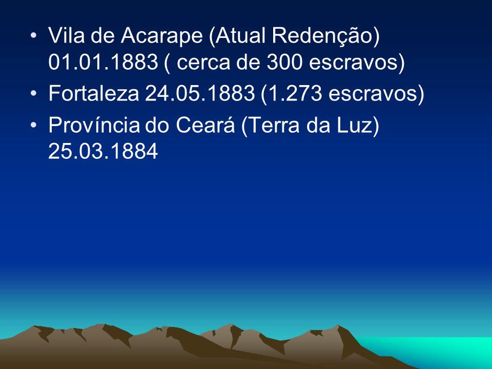 Vila de Acarape (Atual Redenção) 01.01.1883 ( cerca de 300 escravos)