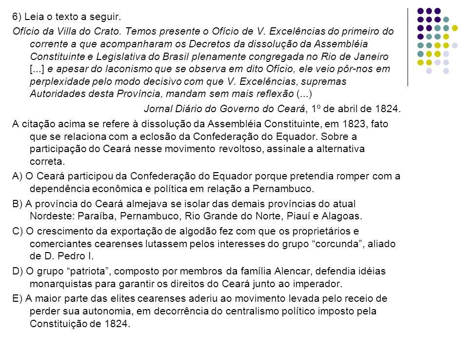 6) Leia o texto a seguir. Ofício da Villa do Crato