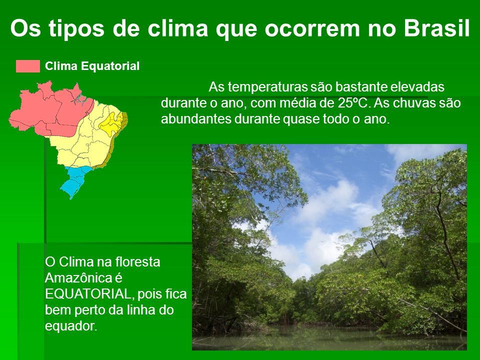Os tipos de clima que ocorrem no Brasil