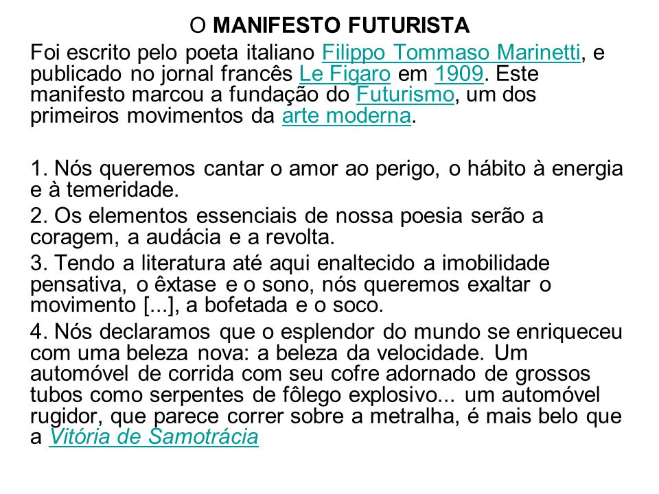 O MANIFESTO FUTURISTA