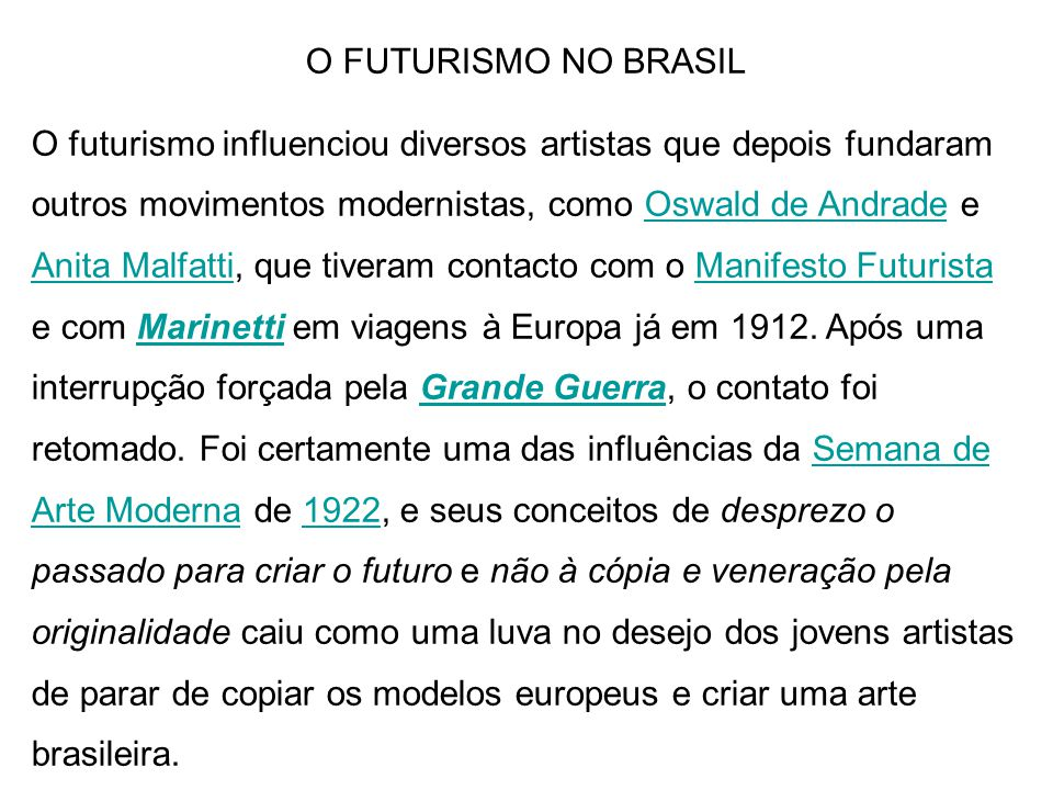 O FUTURISMO NO BRASIL