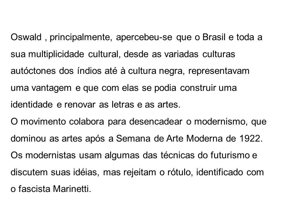 Oswald , principalmente, apercebeu-se que o Brasil e toda a sua multiplicidade cultural, desde as variadas culturas autóctones dos índios até à cultura negra, representavam uma vantagem e que com elas se podia construir uma identidade e renovar as letras e as artes.