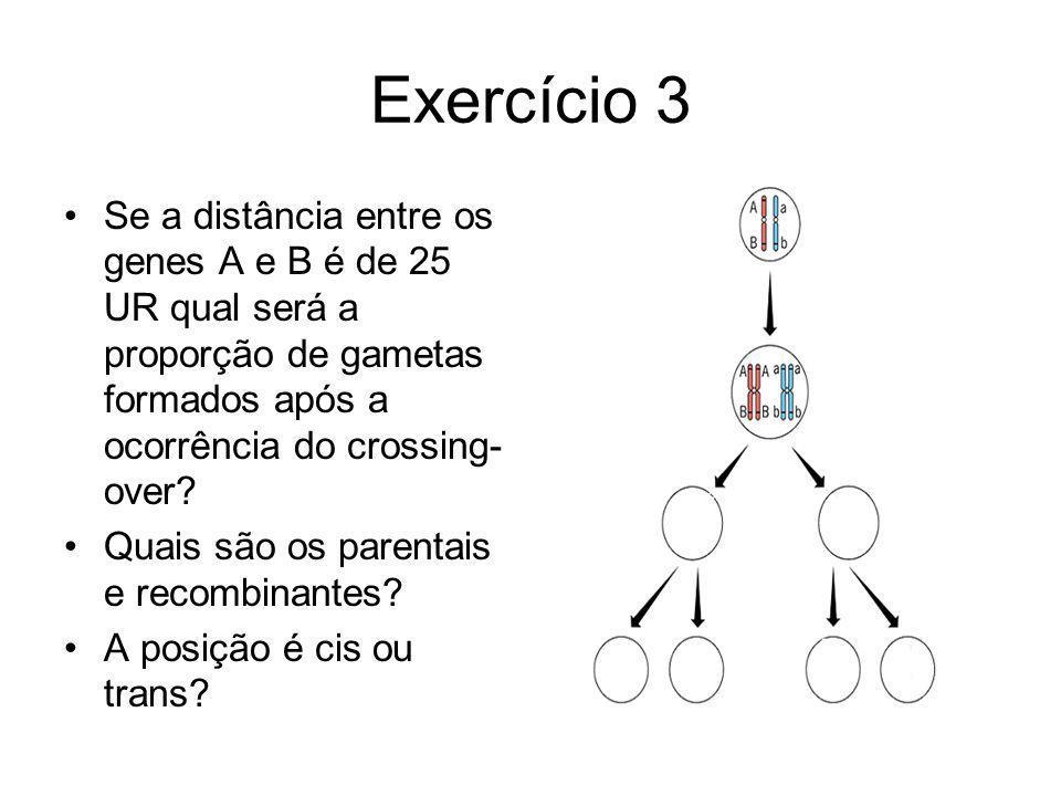 Exercício 3 Se a distância entre os genes A e B é de 25 UR qual será a proporção de gametas formados após a ocorrência do crossing-over