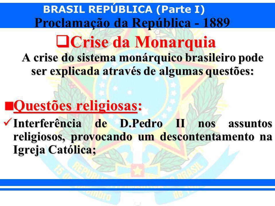 Crise da Monarquia A crise do sistema monárquico brasileiro pode ser explicada através de algumas questões:
