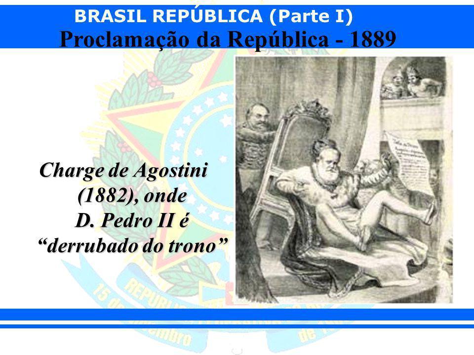 Charge de Agostini (1882), onde D. Pedro II é derrubado do trono