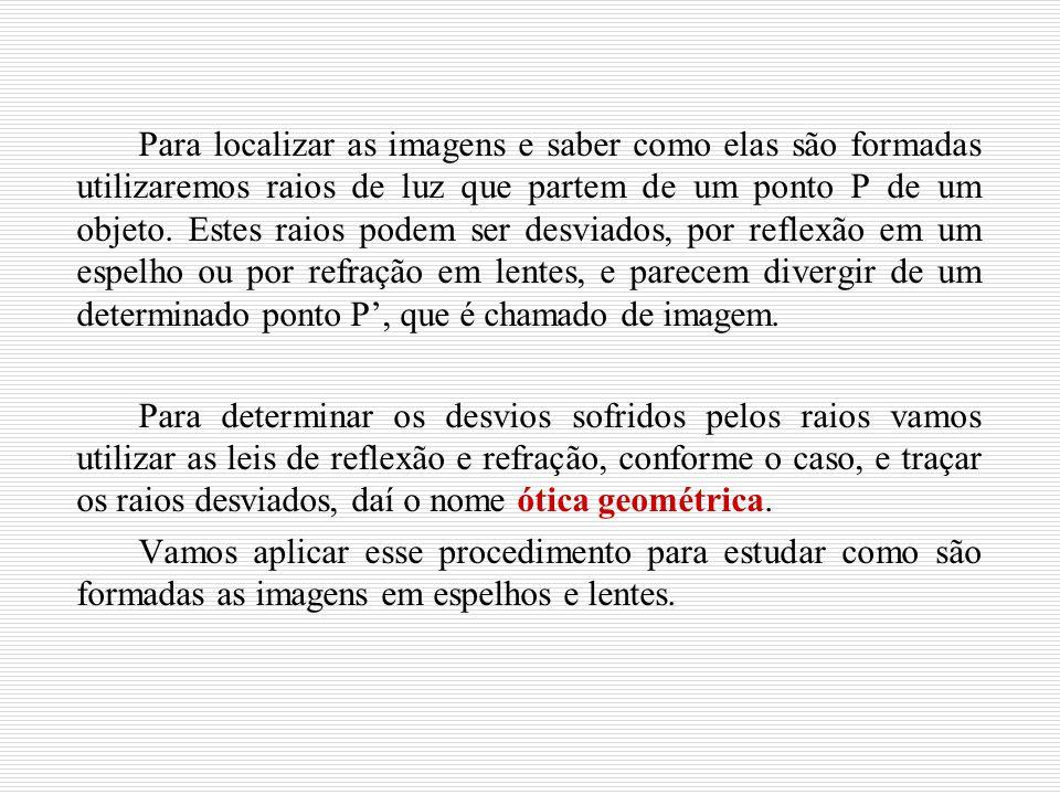 Para localizar as imagens e saber como elas são formadas utilizaremos raios de luz que partem de um ponto P de um objeto. Estes raios podem ser desviados, por reflexão em um espelho ou por refração em lentes, e parecem divergir de um determinado ponto P', que é chamado de imagem.
