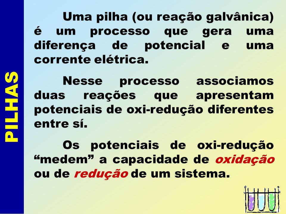Uma pilha (ou reação galvânica) é um processo que gera uma diferença de potencial e uma corrente elétrica.