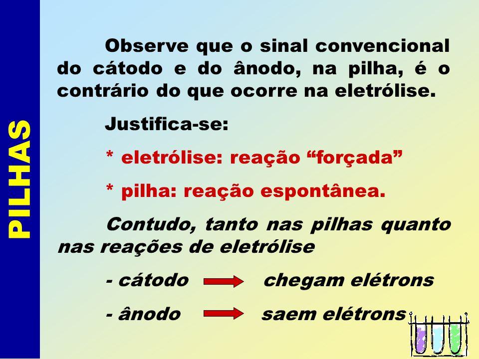 Observe que o sinal convencional do cátodo e do ânodo, na pilha, é o contrário do que ocorre na eletrólise.