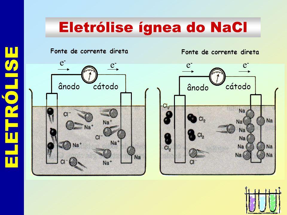 ELETRÓLISE Eletrólise ígnea do NaCl e- e- e- e- ânodo cátodo ânodo