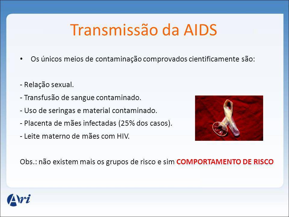 Transmissão da AIDS Os únicos meios de contaminação comprovados cientificamente são: - Relação sexual.