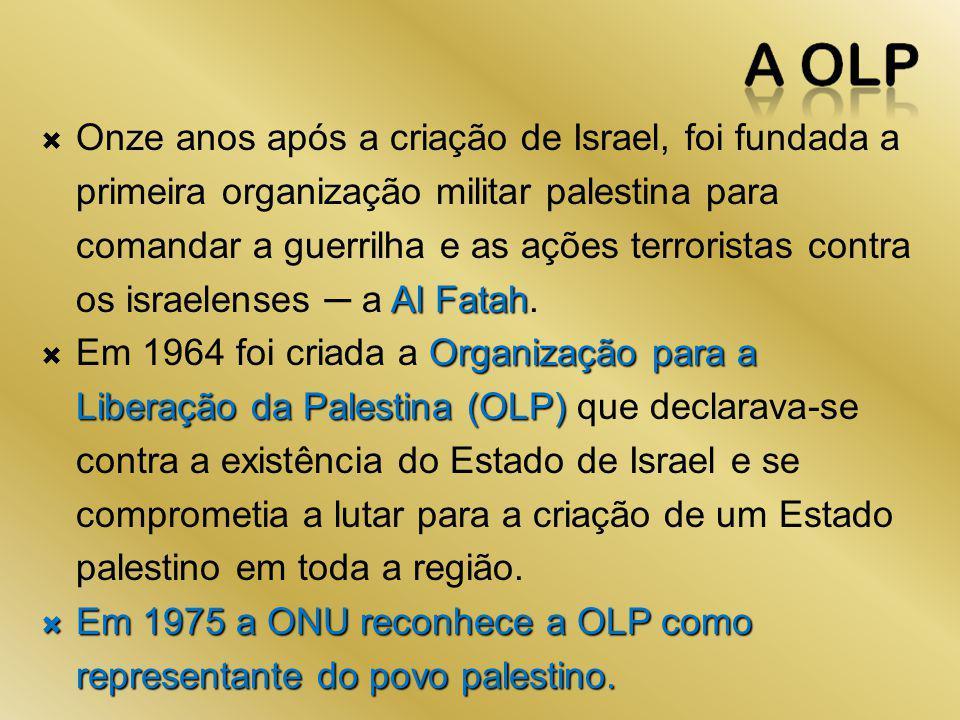 Onze anos após a criação de Israel, foi fundada a primeira organização militar palestina para comandar a guerrilha e as ações terroristas contra os israelenses ─ a Al Fatah.