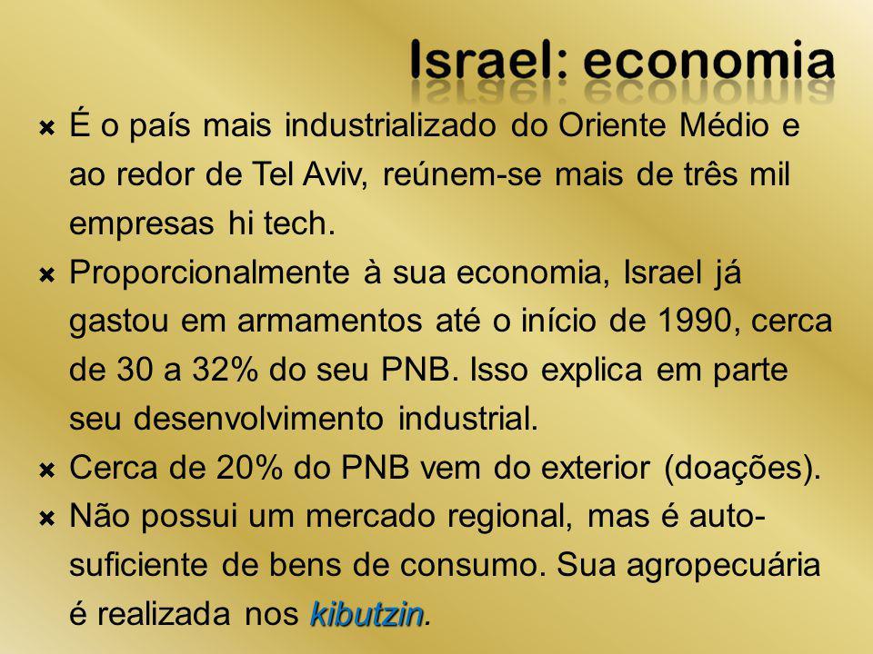 É o país mais industrializado do Oriente Médio e ao redor de Tel Aviv, reúnem-se mais de três mil empresas hi tech.