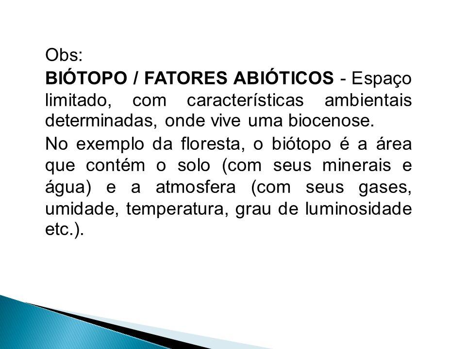 Obs: BIÓTOPO / FATORES ABIÓTICOS - Espaço limitado, com características ambientais determinadas, onde vive uma biocenose.