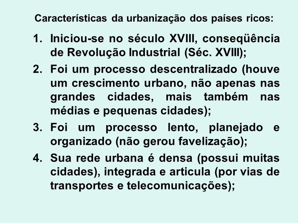 Características da urbanização dos países ricos: