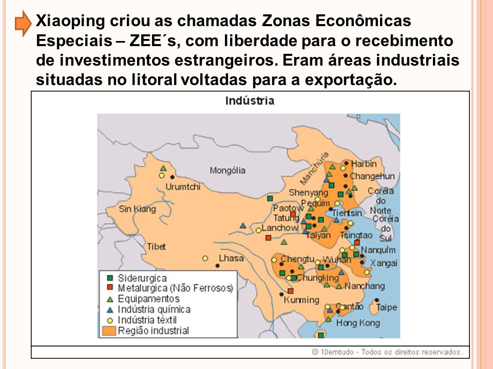 Xiaoping criou as chamadas Zonas Econômicas Especiais – ZEE´s, com liberdade para o recebimento