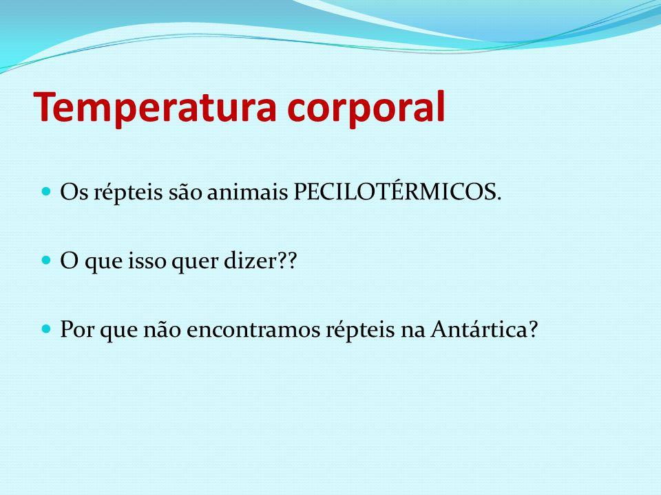 Temperatura corporal Os répteis são animais PECILOTÉRMICOS.