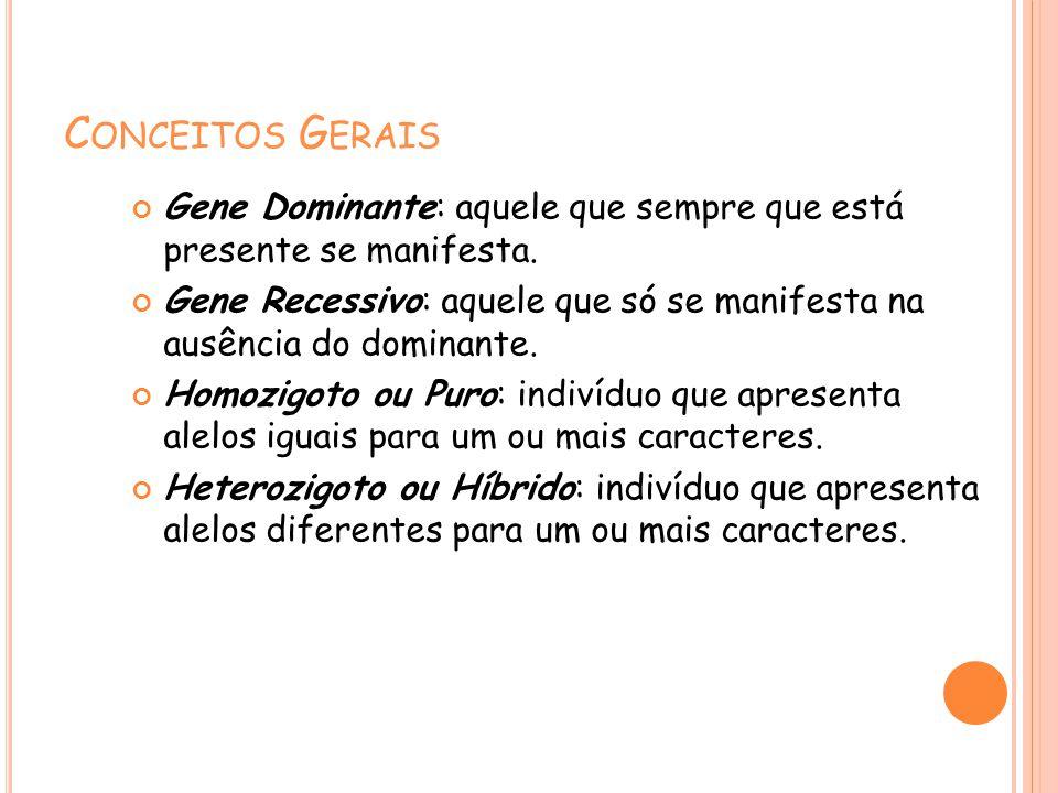 Conceitos Gerais Gene Dominante: aquele que sempre que está presente se manifesta.
