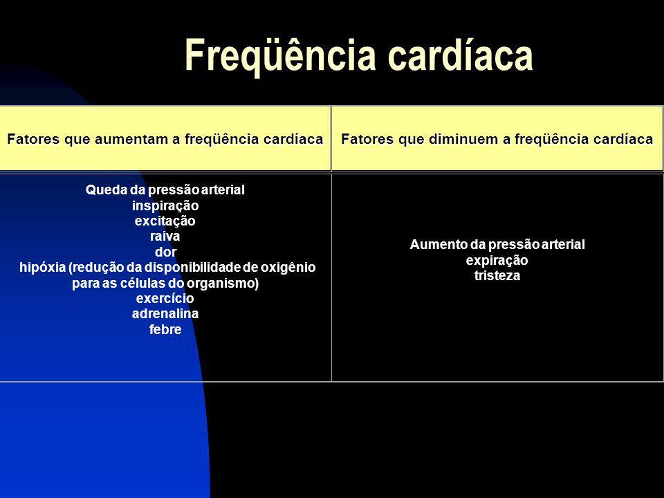 Freqüência cardíaca Fatores que aumentam a freqüência cardíaca