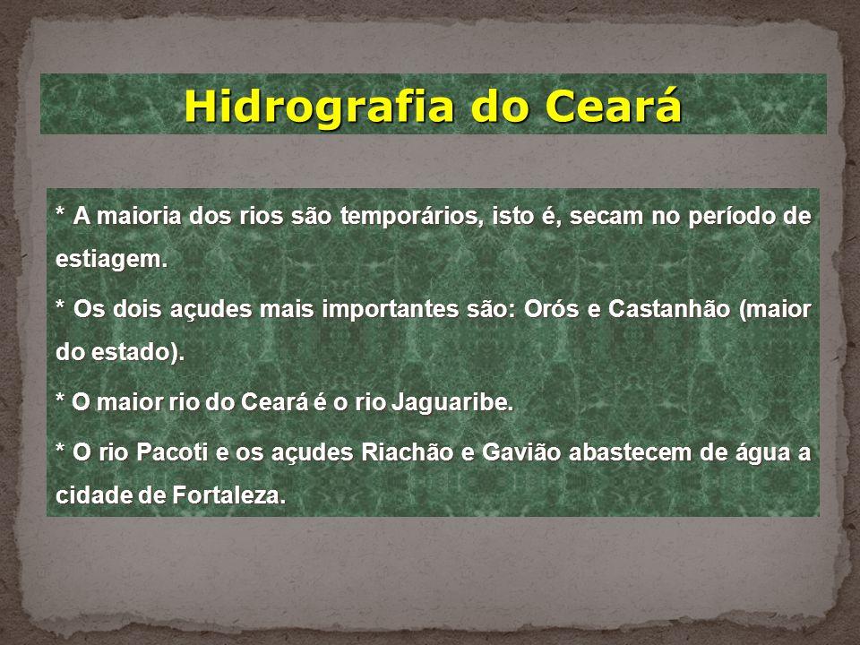 Hidrografia do Ceará * A maioria dos rios são temporários, isto é, secam no período de estiagem.