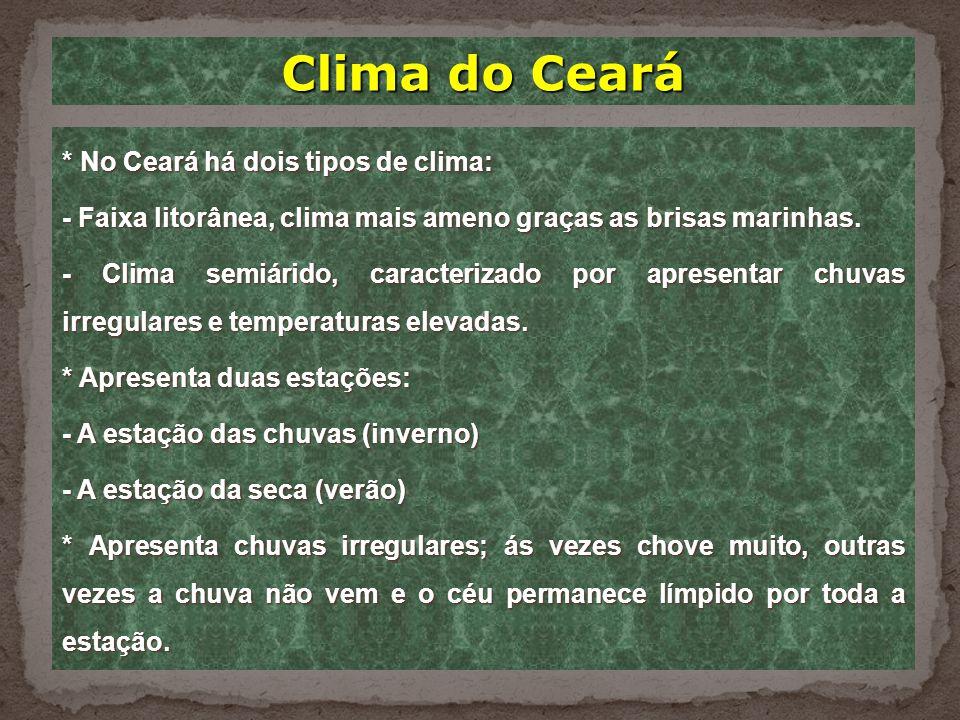 Clima do Ceará * No Ceará há dois tipos de clima:
