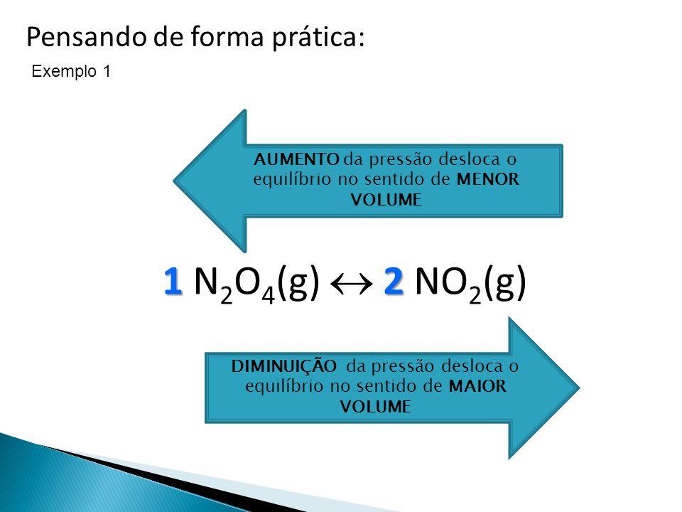 1 N2O4(g)  2 NO2(g) Pensando de forma prática: Exemplo 1