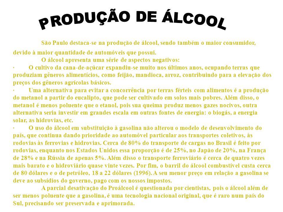 PRODUÇÃO DE ÁLCOOL São Paulo destaca-se na produção de álcool, sendo também o maior consumidor, devido à maior quantidade de automóveis que possui.