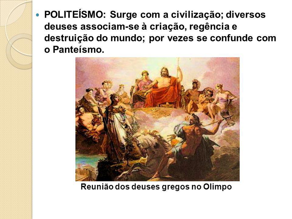 Reunião dos deuses gregos no Olimpo